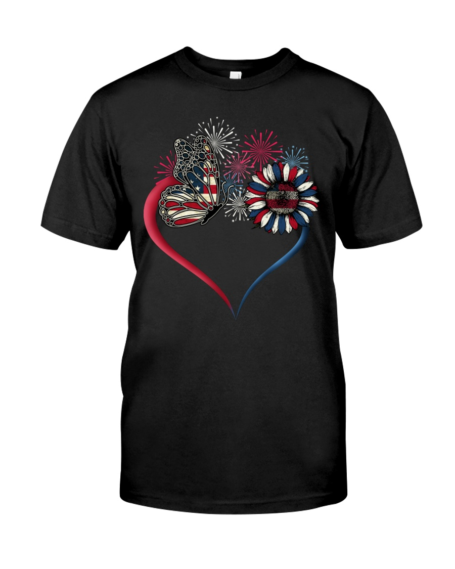 Butterfly Love Sunflower American Flag Classic T-Shirt