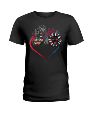 Butterfly Love Sunflower American Flag Ladies T-Shirt tile