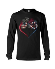 Butterfly Love Sunflower American Flag Long Sleeve Tee tile