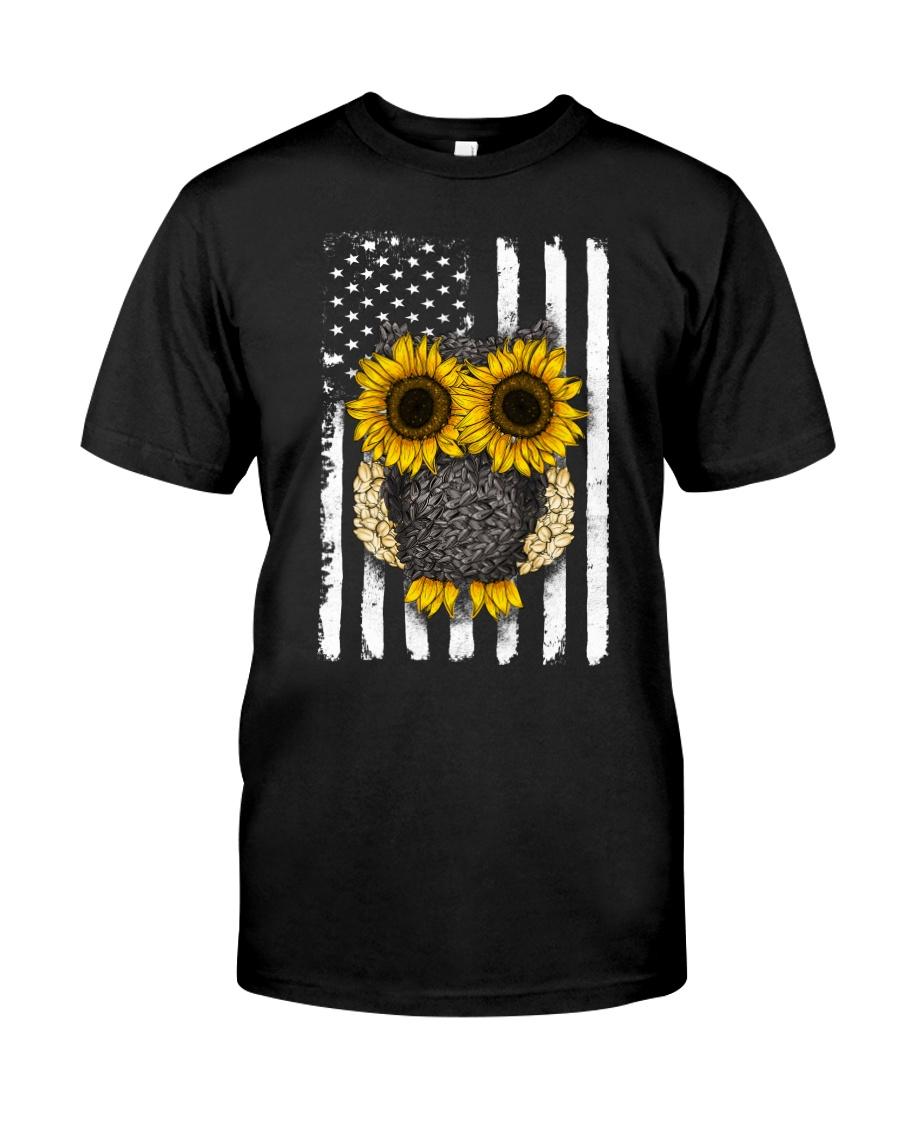 American Flag Sunflower Owl Classic T-Shirt
