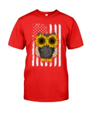 American Flag Sunflower Owl Classic T-Shirt front