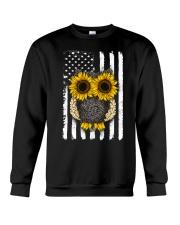 American Flag Sunflower Owl Crewneck Sweatshirt thumbnail