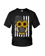 American Flag Sunflower Owl Youth T-Shirt thumbnail