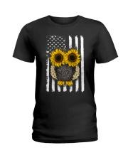 American Flag Sunflower Owl Ladies T-Shirt thumbnail