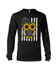 American Flag Sunflower Owl Long Sleeve Tee thumbnail