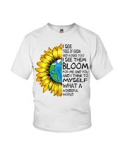 What A Wonderful World Sunflower Earth Youth T-Shirt thumbnail