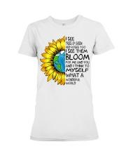 What A Wonderful World Sunflower Earth Premium Fit Ladies Tee thumbnail