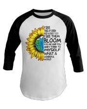 What A Wonderful World Sunflower Earth Baseball Tee thumbnail