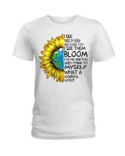 What A Wonderful World Sunflower Earth Ladies T-Shirt thumbnail