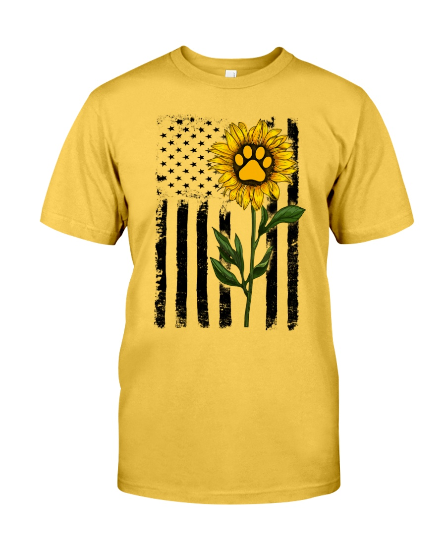 American Flag Sunflower Paw Classic T-Shirt