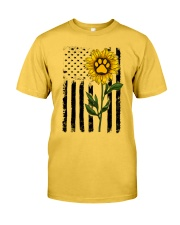 American Flag Sunflower Paw Classic T-Shirt front