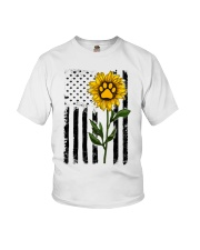 American Flag Sunflower Paw Youth T-Shirt thumbnail