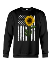 American Flag Sunflower Hippie Distressed Crewneck Sweatshirt thumbnail