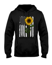 American Flag Sunflower Hippie Distressed Hooded Sweatshirt thumbnail