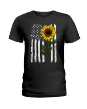 American Flag Sunflower Hippie Distressed Ladies T-Shirt thumbnail