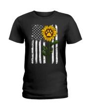 American Flag Sunflower Paw Ladies T-Shirt thumbnail