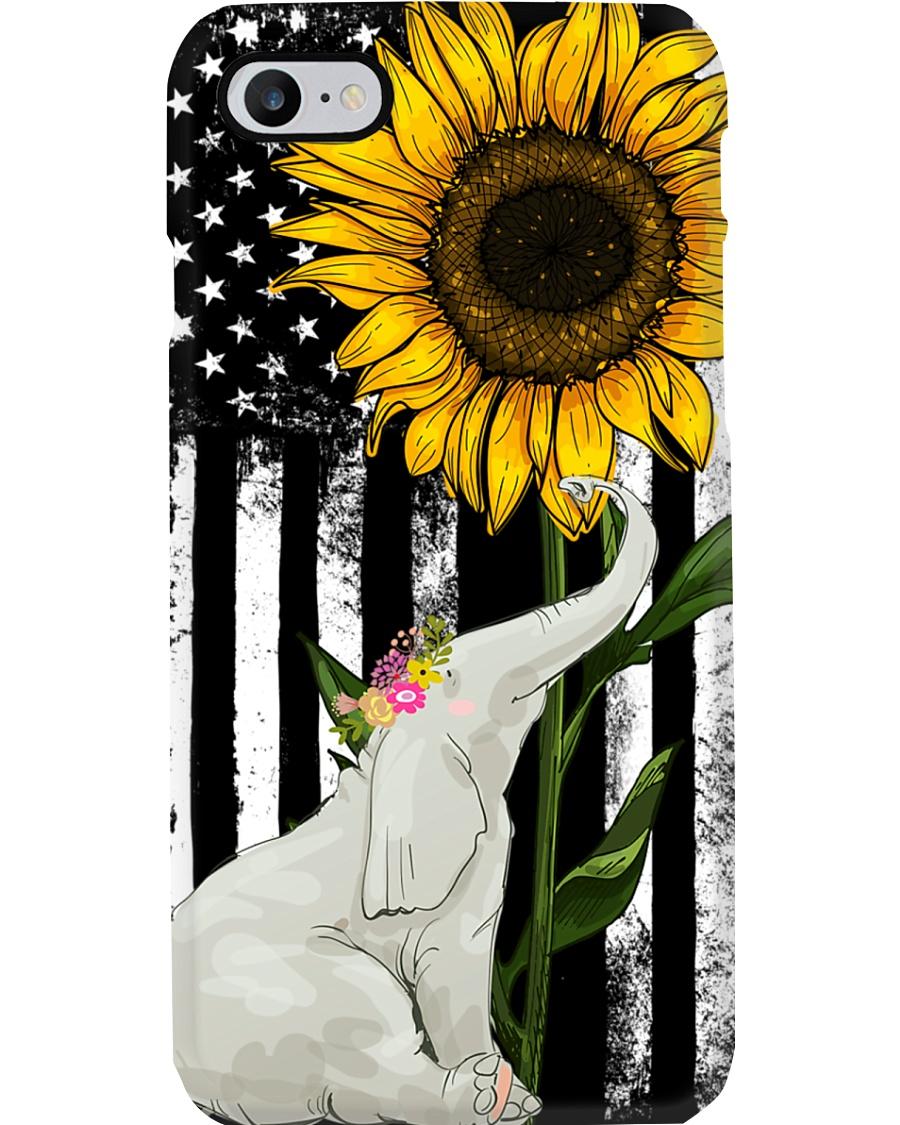 American Flag Sunflower Elephant Phone Case