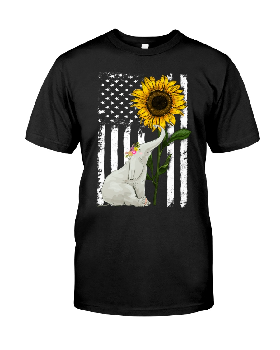 American Flag Sunflower Elephant Classic T-Shirt
