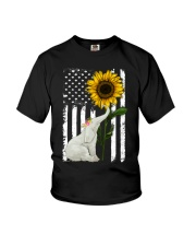 American Flag Sunflower Elephant Youth T-Shirt tile