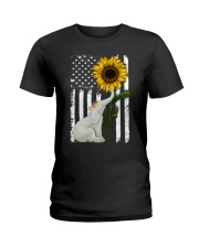 American Flag Sunflower Elephant Ladies T-Shirt thumbnail