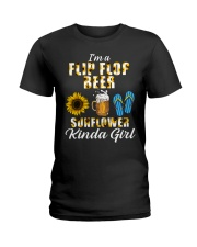 I'm A Flip Flop Beer Sunflower Kinda Girl Ladies T-Shirt thumbnail