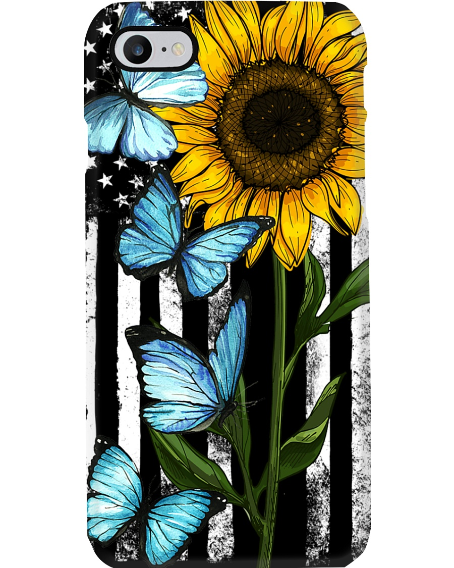 American Flag Sunflower Butterfly Phone Case