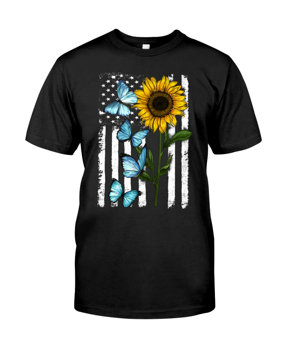 American Flag Sunflower Butterfly Classic T-Shirt