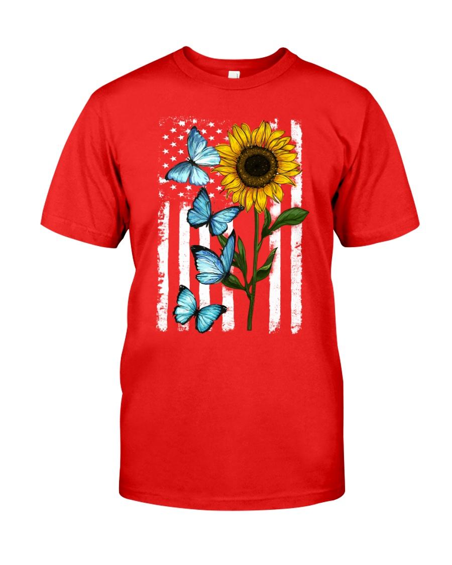 American Flag Sunflower Butterfly Classic T-Shirt