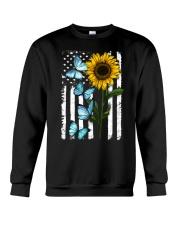 American Flag Sunflower Butterfly Crewneck Sweatshirt thumbnail