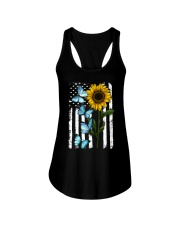 American Flag Sunflower Butterfly Ladies Flowy Tank thumbnail