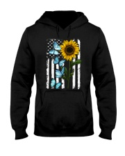 American Flag Sunflower Butterfly Hooded Sweatshirt thumbnail