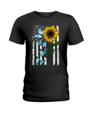 American Flag Sunflower Butterfly Ladies T-Shirt thumbnail