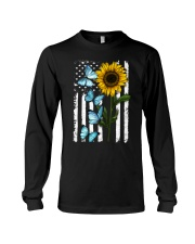 American Flag Sunflower Butterfly Long Sleeve Tee thumbnail