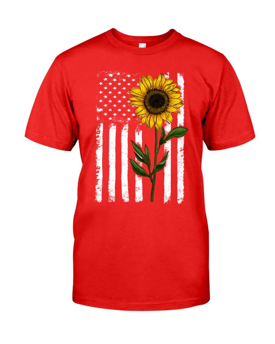 American Flag Sunflower Classic T-Shirt