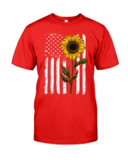 American Flag Sunflower Classic T-Shirt front
