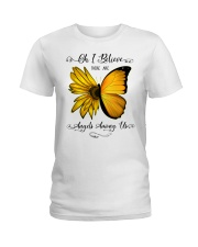 Oh I Believe There Are Angels Among Us Sunflower Ladies T-Shirt thumbnail