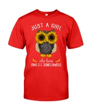Just A Girl Who Loves Owls And Sunflowers Classic T-Shirt front