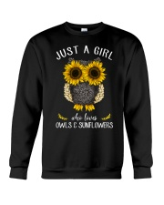 Just A Girl Who Loves Owls And Sunflowers Crewneck Sweatshirt thumbnail