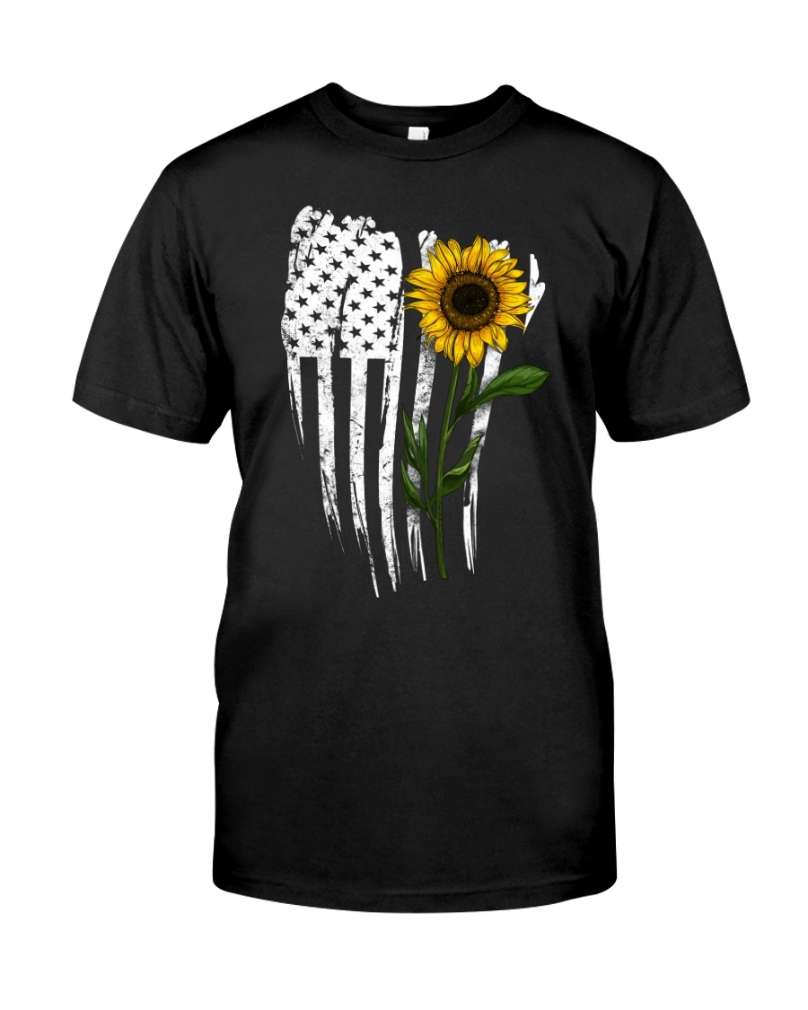 Curved American Flag Sunflower Classic T-Shirt