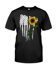 Curved American Flag Sunflower Classic T-Shirt front