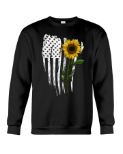 Curved American Flag Sunflower Crewneck Sweatshirt thumbnail