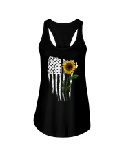 Curved American Flag Sunflower Ladies Flowy Tank thumbnail