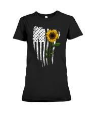 Curved American Flag Sunflower Premium Fit Ladies Tee thumbnail