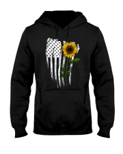Curved American Flag Sunflower Hooded Sweatshirt thumbnail