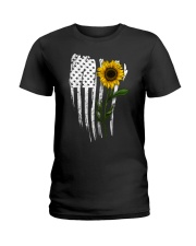Curved American Flag Sunflower Ladies T-Shirt thumbnail