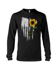 Curved American Flag Sunflower Long Sleeve Tee thumbnail