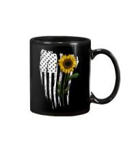 Curved American Flag Sunflower Mug thumbnail