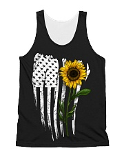 Curved American Flag Sunflower All-over Unisex Tank thumbnail