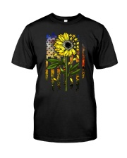 American Flag Star Sunflower Field Classic T-Shirt front