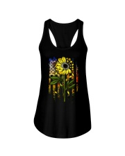 American Flag Star Sunflower Field Ladies Flowy Tank tile
